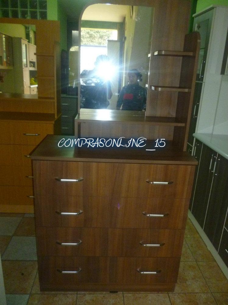 C moda tocador con espejo puro melamina s 660 00 en for Espejos para comodas de dormitorio