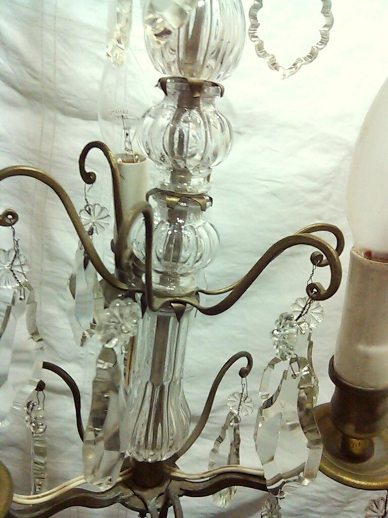 Lampara antigua de bronce y cristal s 620 00 en - Lamparas cristal antiguas ...
